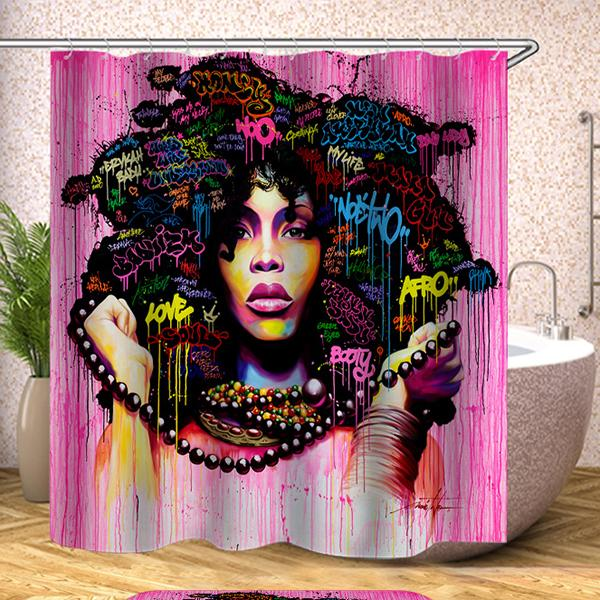 Purple Hair Afro Girl Polyester Bathroom Shower Curtain 3D Printing Water-Proof