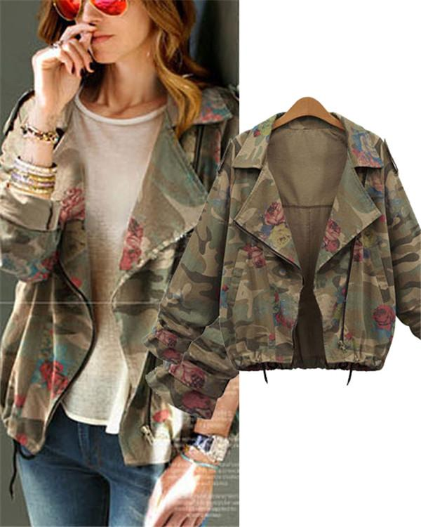 Camouflage Plus Size Fall Winter Floral Printed Fashion Outwear Coat