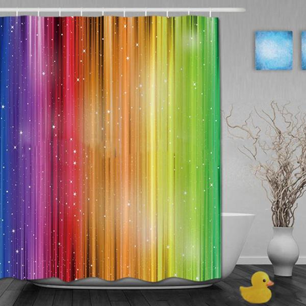 Rainbow Color Gradient Digital Printing Pattern Bathroom Curtain Mildew Waterproof Shower Curtain