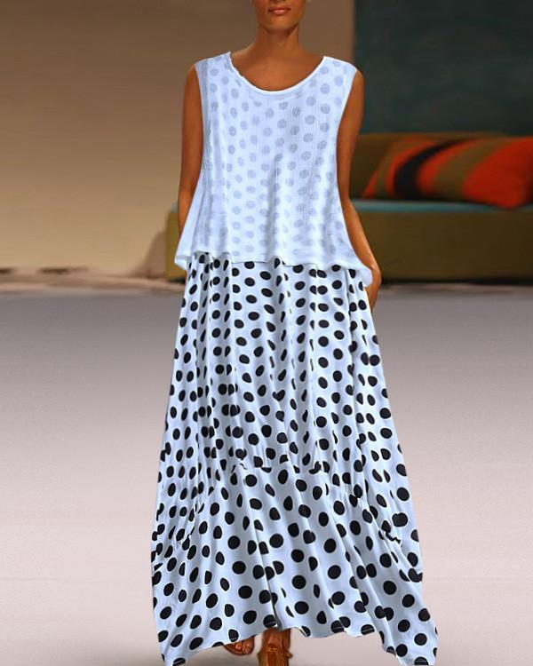 Women Fashion Polka Dot Round Neck Sleeveless Dresses