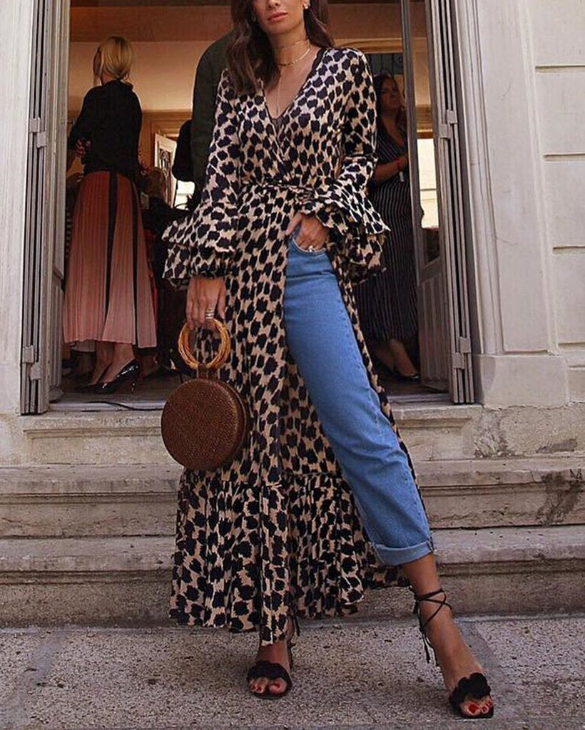 V Neck Leopard Design Loose Causal Maxi Dress Tops