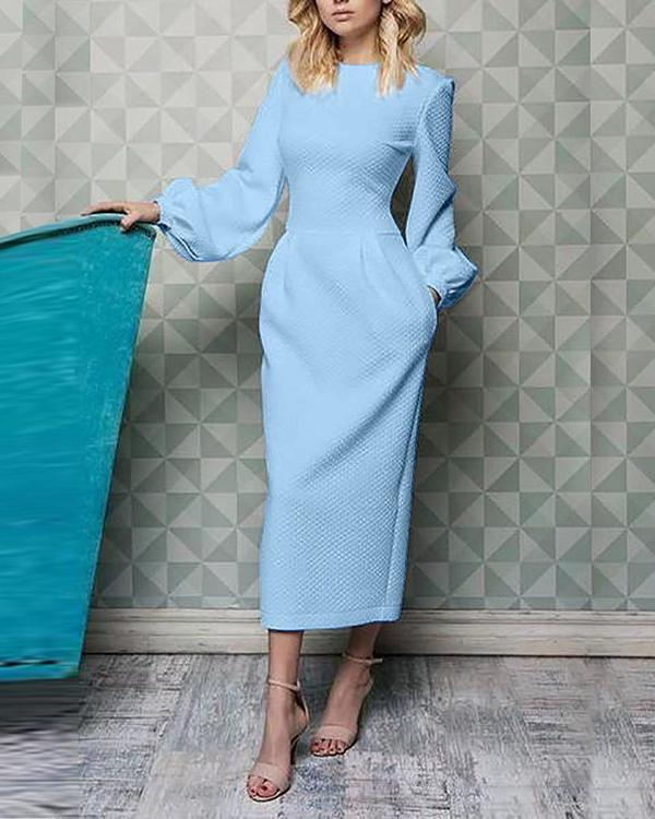 Elegant Solid Lantern Sleeve Round Neck Waist Dress