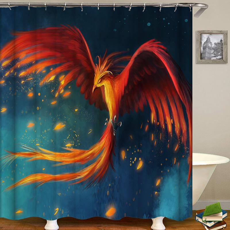 Bird Series Animal Digital Printing Pattern Bathroom Curtain Mildew Waterproof Shower Curtain
