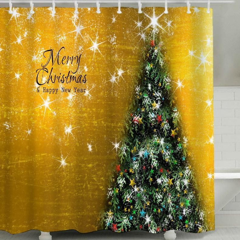 Christmas Tree Series 3D Digital Printing Pattern Bathroom Curtain Mildew Waterproof Shower Curtain