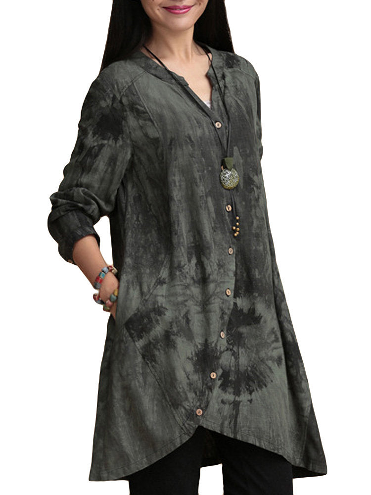 Women Vintage Printing V Neck Button Irregular Blouse