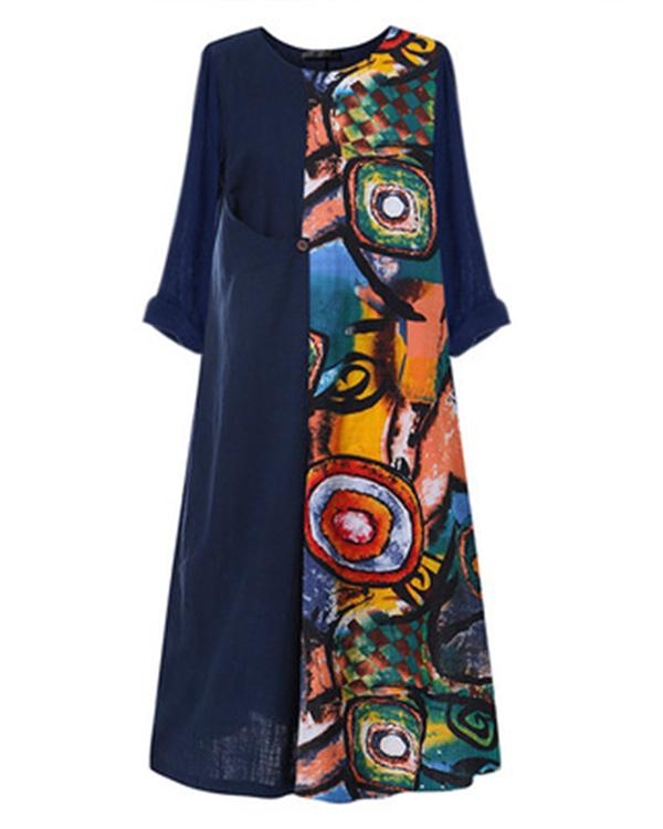 Crew Neck Women Summer 3/4 Sleeve Casual Maxi Dresses