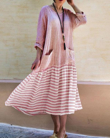 Casual Stripe Simple Long Sleeve Plus Size Dresses