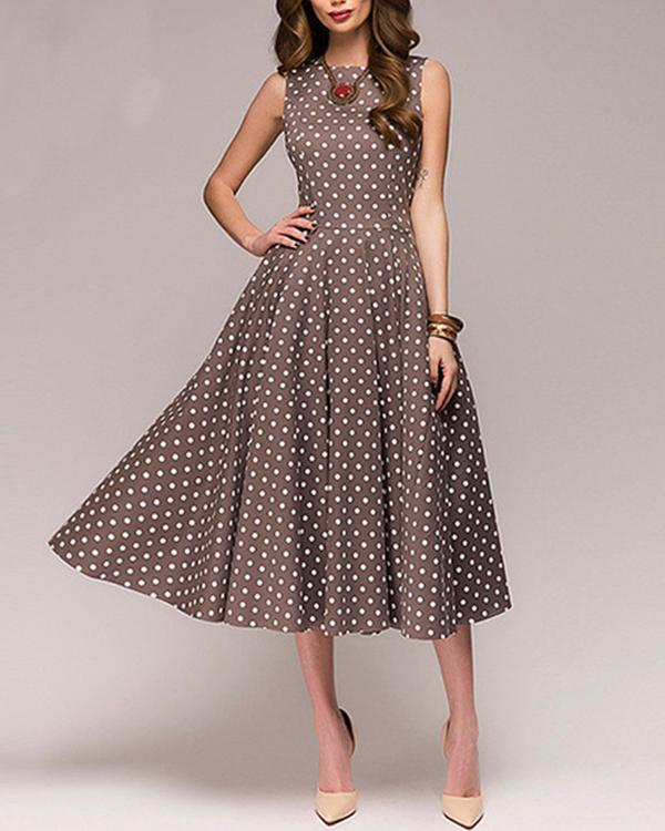 Women Crew Neck Sleeveless Paneled Polka Dots Prom Elegant Plus Size Dress