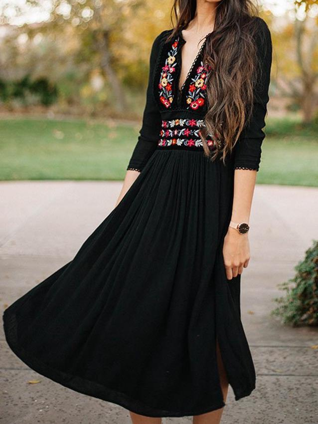 Boho Women Floral Embroidery V-Neck Vintage Long Sleeve Gypsy Maxi Dress