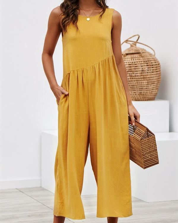 Women Crew Neck Linen Sleeveless Solid Bohemian Jumpsuits