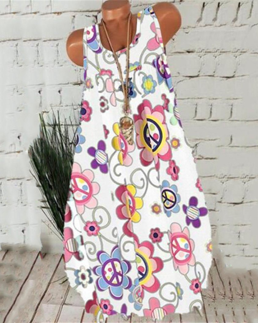 Casual Sleeveless Round Neck Printed Dress