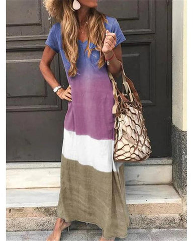 Vacation Summer Bohemian Short Sleeve Maxi Dress