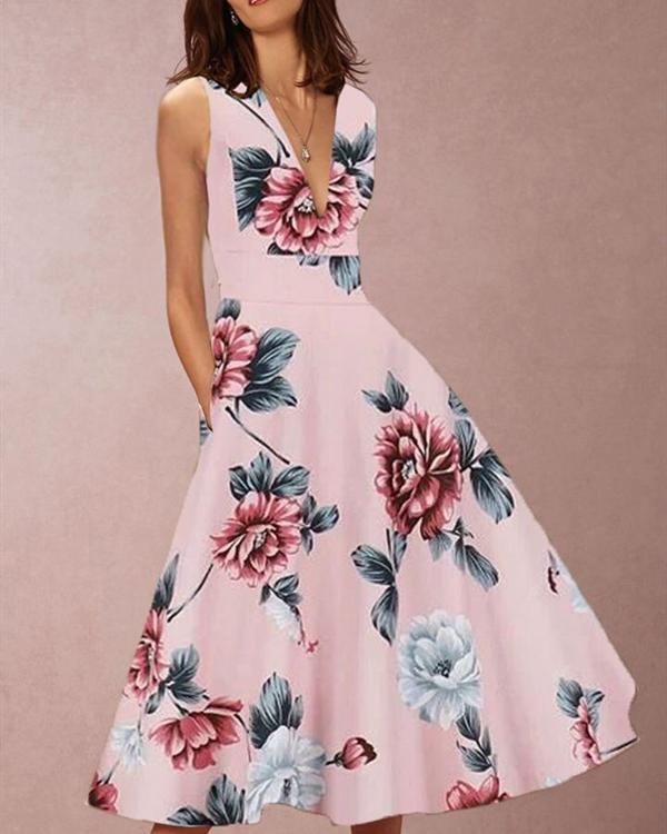 Sleeveless V Collar Waist Printing Skater Dress