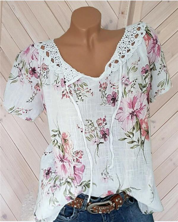 Casual V Neck Floral Printed  Women Shirts Tops