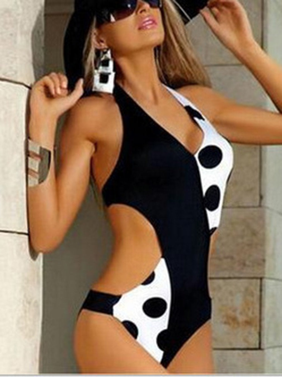 Geometric Halter Cut-outs Cross Triangle One-piece Swimsuit