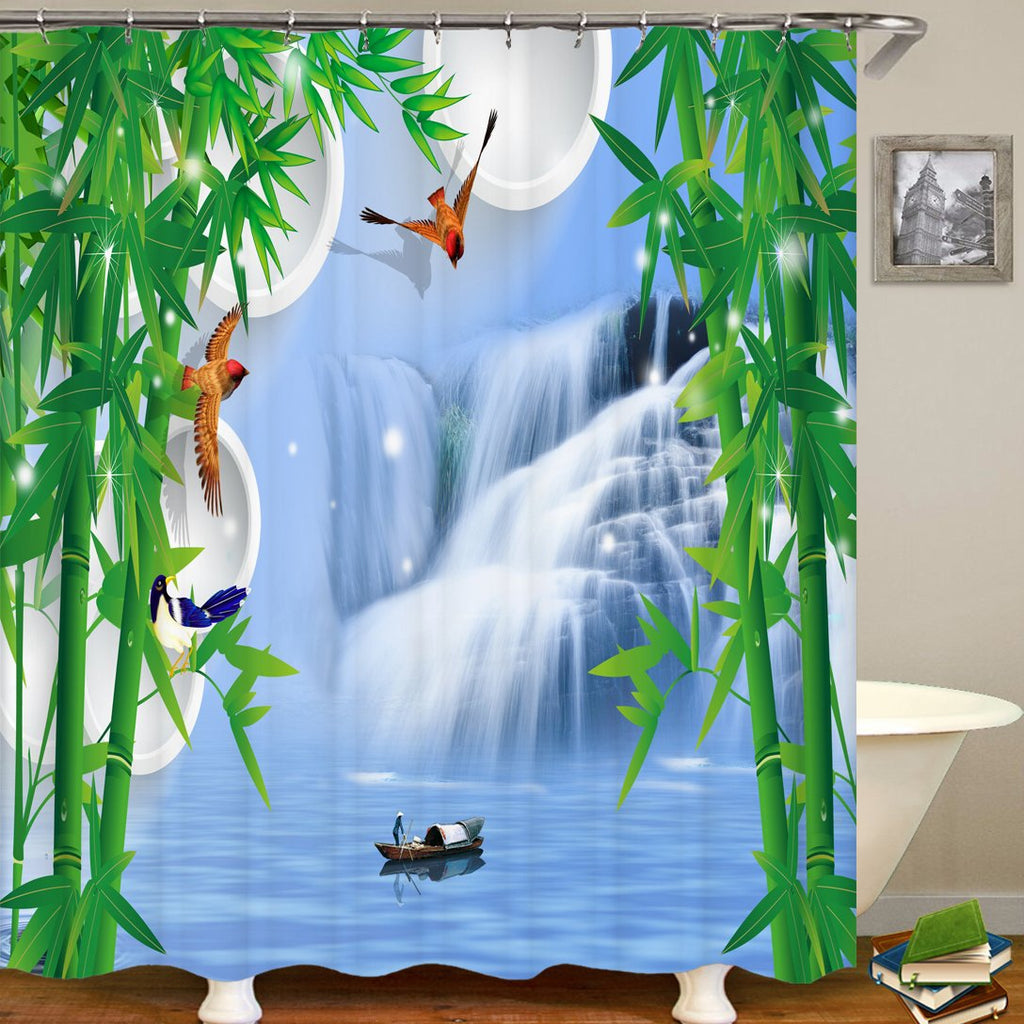 Mangosteen Waterfall Scenery Series Pattern Bathroom Curtain Mildew Waterproof Shower Curtain