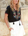 Floral Embroidered Short Sleeve Blouse Tops