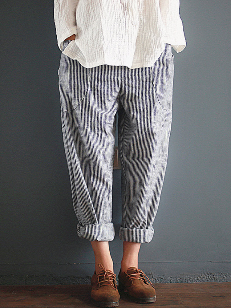 Casual Stripe Loose Elastic Waist Women Pants With Pockets