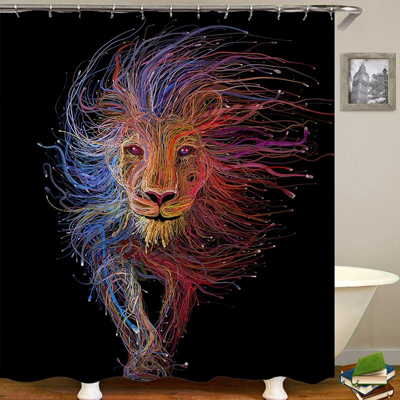 Lion Animal Digital Printing Pattern Bathroom Curtain Mildew Waterproof Shower Curtain