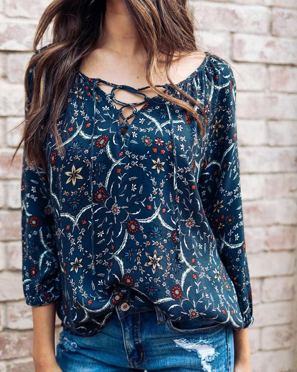 Casual Floral Print 3/4 Sleeve Lace Up Blouses Tops