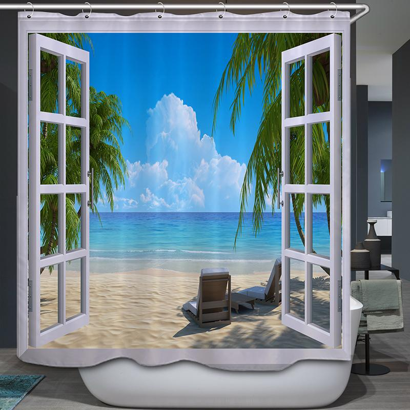 Window Beach View Printing Waterproof Bathroom Shower Curtain