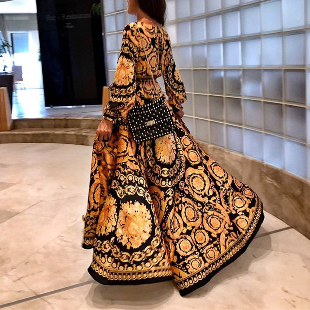 2019 Long Sleeve V-Neck Print Maxi Dress