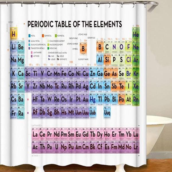 Element Periodic Table 3D Digital Printing Pattern Bathroom Curtain Mildew Waterproof Shower Curtain