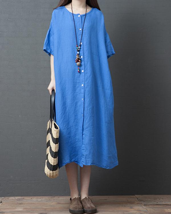 Women's Casual Solid Color Button Short Sleeve Dress