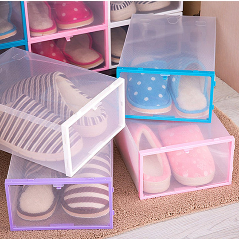 Foldable Clear Plastic Shoe Case Storage Organizer Stackable Tidy Box