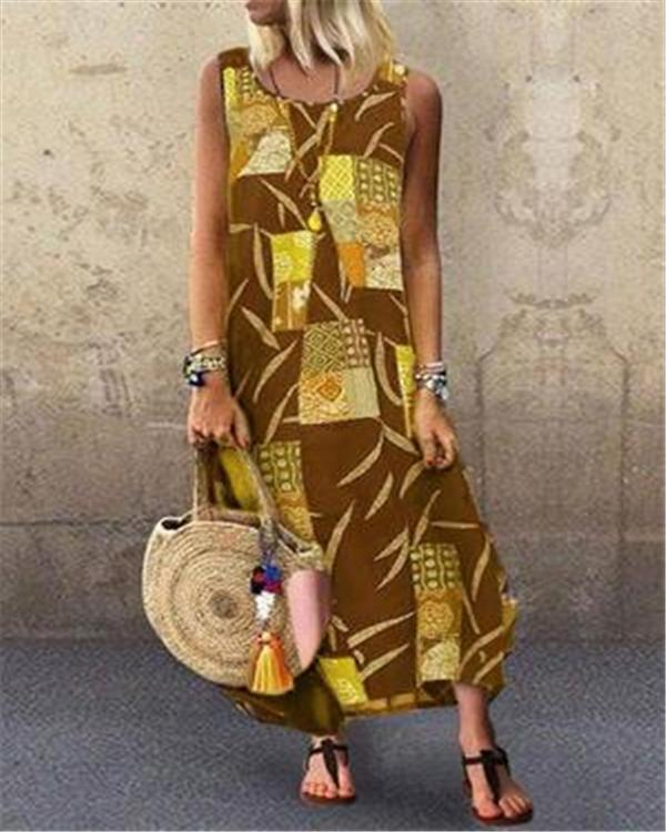 Printed Round Neck Sleeveless Plus Size Dresses