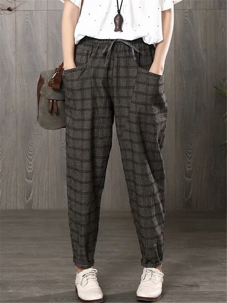 Vintage Plaid Elastic Waist Drawstring Casual Loose Harem Pants