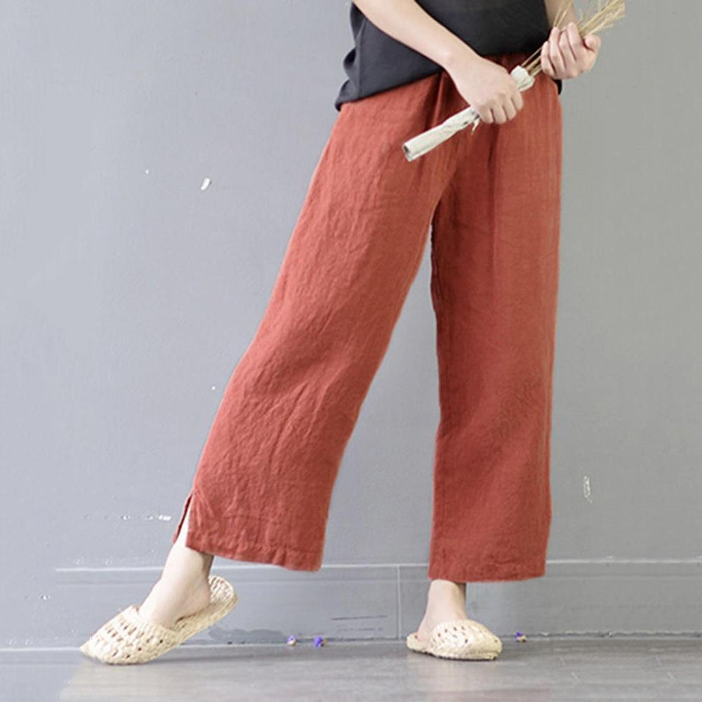 Plus Size Casual Elastic Waist Pockets  Wide Leg Pants