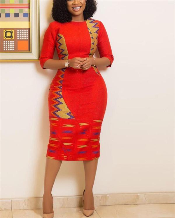 Africa Office Lady Printed Patchwork Bodycon Mini Pencil Skirt