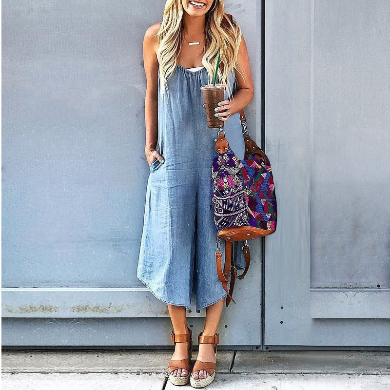Casual Thin Jeans Wide Leg Jumpsuit