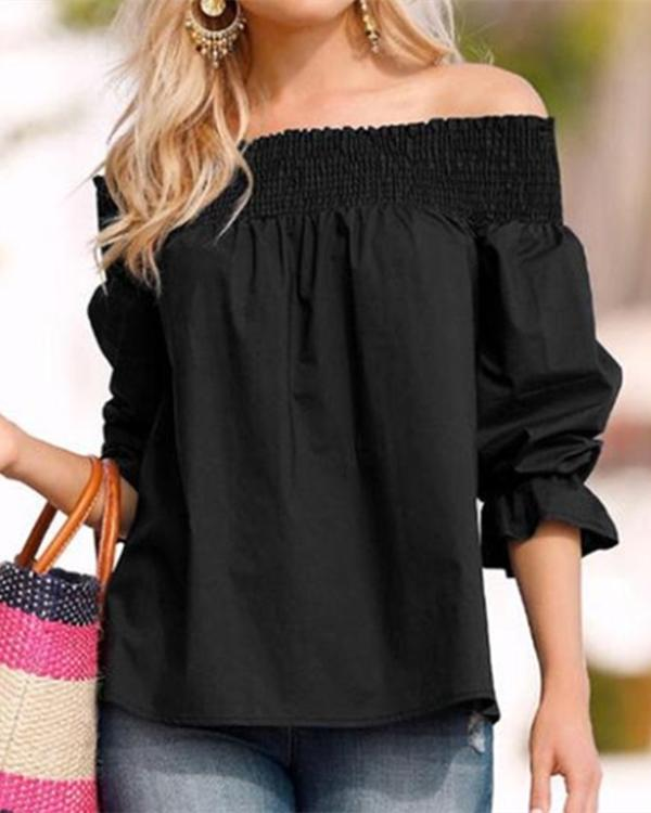 Fashion One-Word Back Bow T-Shirt Plus Size Blouses Tops
