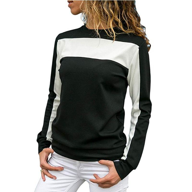 Casual  Spliced  Long Sleeve Hoodies Blouse