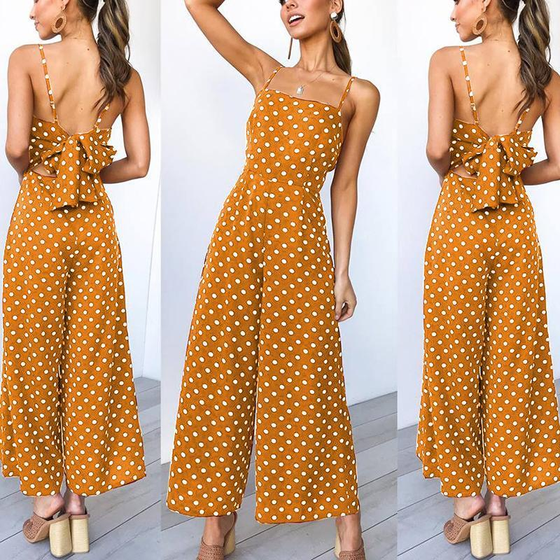 Casual Backless Bowknot Wave Point Sling Wide Leg Jumpsuit