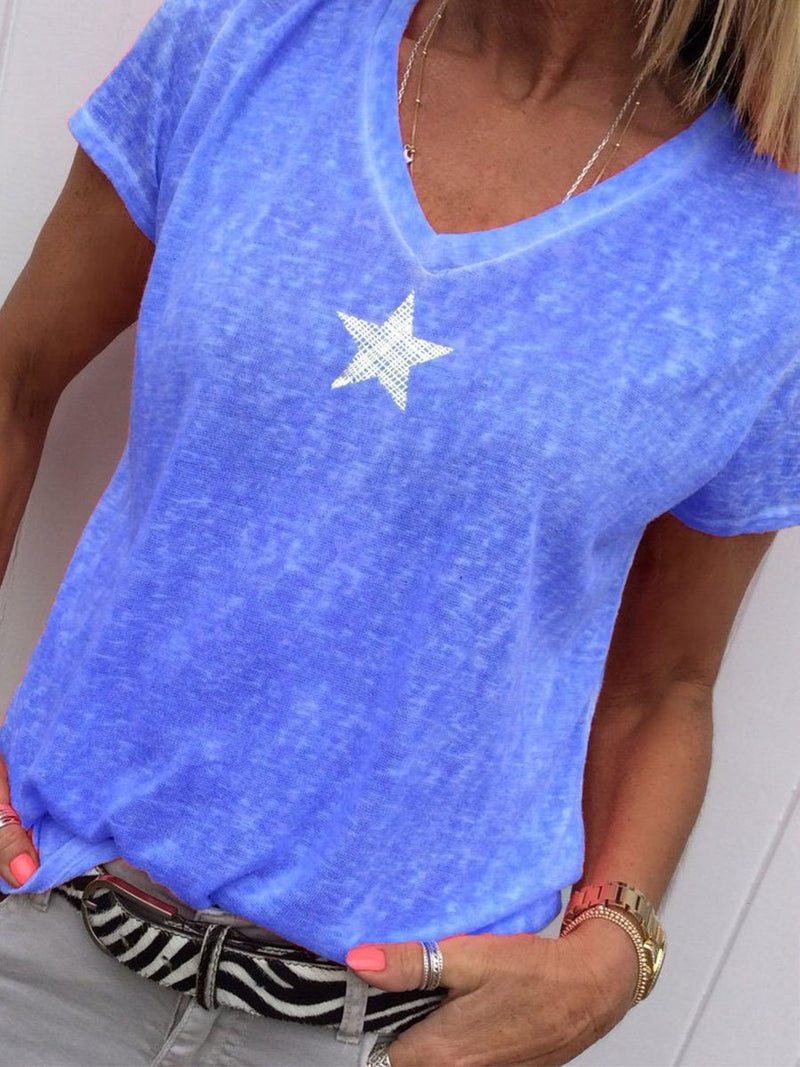 Star Printed V Neck Short Sleeve Casual T-Shirts