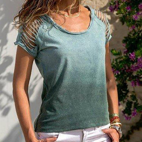 Women Casual V Neck Button Lace Hollow Blouses Tops