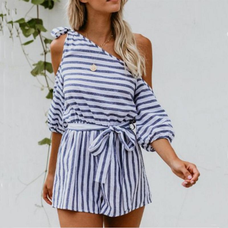 Casual Off-Shoulder Slilng Striped Jumpsuits