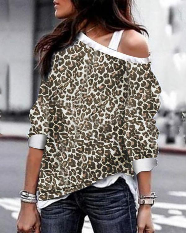 One Shoulder Backless Cutout Patchwork Contrast Stitching Leopard Long Sleeve T-Shirts