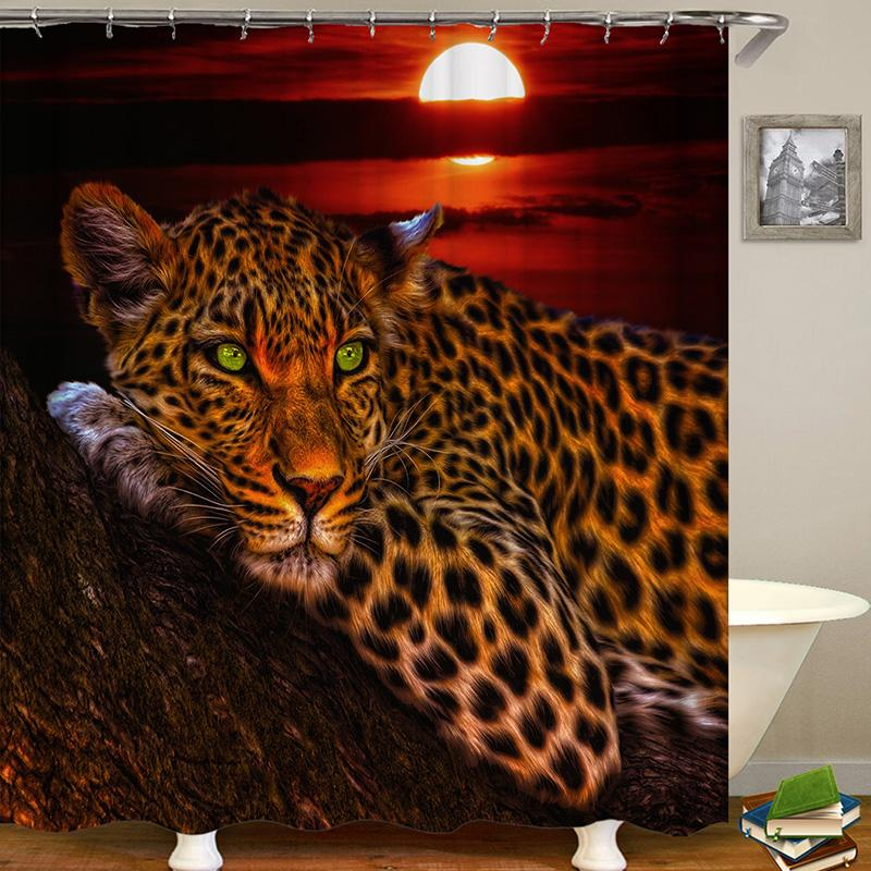 Leopard Tiger Animal Digital Printing Pattern Bathroom Curtain Mildew Waterproof Shower Curtain