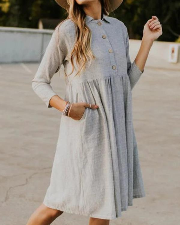 Fashion Turn Down Collar 3/4 Sleeve Striped Vacation Plus Size Dress