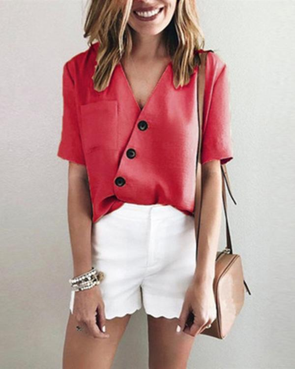 Cactus Solid Irregular V Neck Casual Short Sleeve Blouse