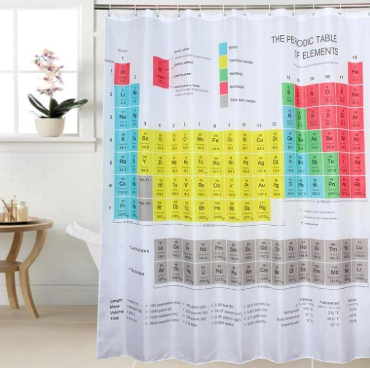 Home Shower Curtain Element Periodic Table Printing Pattern Thick Waterproof Bathroom Curtain