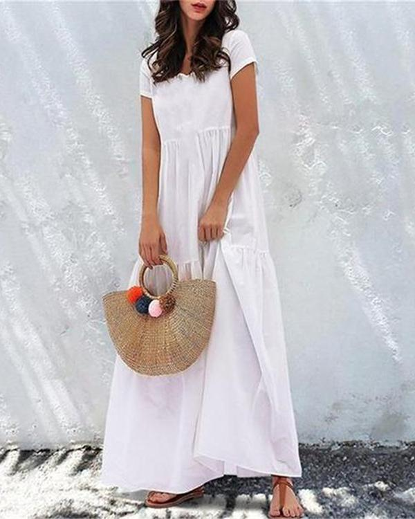 Women Round Neck Short Sleeve Summer Dresses