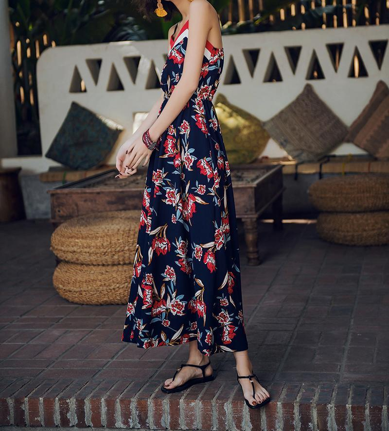 2019 New Spaghetti Strap Printed Bohemia Beach Maxi Dress