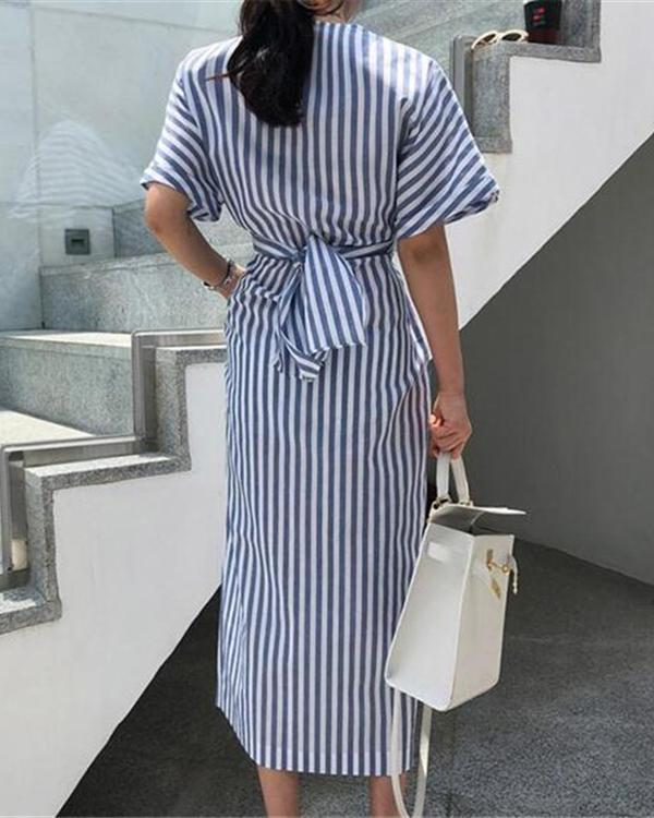 Elegant Stripe Short Sleeve Front Split Dress