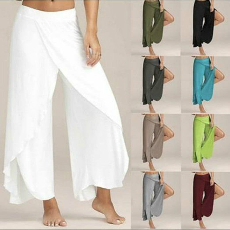 Casual Loose High Slit Flow Layered Wide Leg Yoga Pants