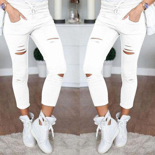Women Denim Pants Holes Destroyed Knee Pencil Pants Casual Trousers